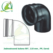 Jednostranné koleno 90°, 110 mm , PP, černá