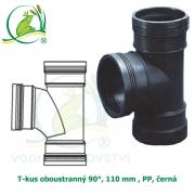 T-kus oboustranný 90°, 110 mm , PP, černá