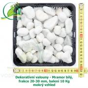 Dekorativní valouny - Mramor bílý, frakce 20-30 mm, balení 10 Kg