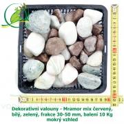 Dekorativní valouny - Mramor mix červený, bílý, zelený, frakce 30-50 mm, balení 10 Kg