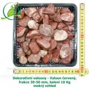 Dekorativní valouny - Valoun červený, frakce 30-50 mm, balení 10 Kg