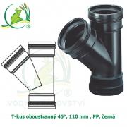 T-kus oboustranný 45°, 110 mm , PP, černá