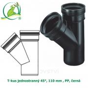 T-kus jednostranný 45°, 110 mm , PP, černá