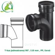 T-kus jednostranný 90°, 110 mm , PP, černá
