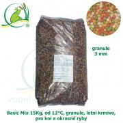Basic Fish-Koi Mix 15 kg, od 12°C, granule 3 mm, pro koi a okrasné ryby, jaro-podzim