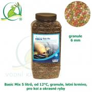 Basic Fish-Koi Mix 5 litrů, od 12°C, granule 6 mm, pro koi a okrasné ryby, jaro-podzim