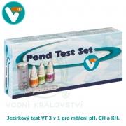Jezírkový test 3 v 1 pro měření pH, GH a KH.