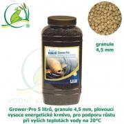 Grower-Pro 5 litrů, granule 4,5 mm, plovoucí vysoce energetické krmivo, pro podporu růstu při vyších teplotách vody na 20°C