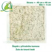 Šlapák z přírodního kamene - Žula do tmavě šedé, 40x40cm, síla 4 cm