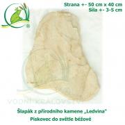 Šlapák z přírodního kamene ,Ledvina-015,- Pískovec do světle béžové, 50x40cm, síla 3-5cm