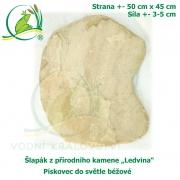 Šlapák z přírodního kamene ,Ledvina-017,- Pískovec do světle béžové, 50x45cm, síla 3-5cm