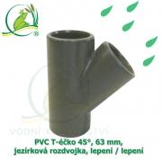 PVC T-éčko 45°, 63 mm, jezírková rozdvojka, lepení / lepení