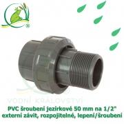PVC šroubení jezírkové 50 mm na 1 1/2 externí závit, rozpojitelné, lepení/šroubení