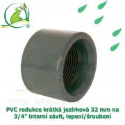 PVC redukce krátká jezírková 32 mm na 3/4 interní závit, lepení/šroubení
