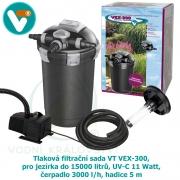 Tlaková filtrační sada VT VEX-300, pro jezírka do 15000 litrů, UV-C 11 Watt, čerpadlo 3000 l/h, hadice 5 m