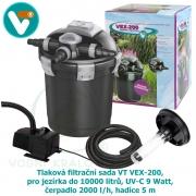 Tlaková filtrační sada VT VEX-200, pro jezírka do 10000 litrů, UV-C 9 Watt, čerpadlo 2000 l/h, hadice 5 m