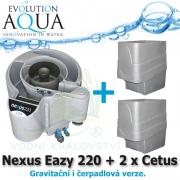 Evolution Aqua Nexus Eazy 220 + 2 x mechanický předfiltr Cetus, filtrace pro koi jezírka a chovy ryb do 18 m3, pro okrasná a biotopy do 150 m3, četně 18 l K1 Micro a 50 l K1