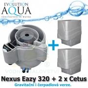 Evolution Aqua Nexus Eazy 320 + 2 x mechanický předfiltr Cetus, filtrace pro koi jezírka a chovy ryb do 18 m3, pro okrasná a biotopy do 150 m3, četně 18 l K1 Micro a 50 l K1