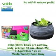Dekorativní mini jezírko pro rostliny a rybky, šedá, průměr 50cm, obsah 25l + AquaClear 125 ml - Velda Trendy Pond Grey