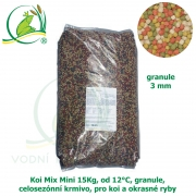 Koi Mix Mini 15Kg, od 12°C, granule 3 mm, celosezónní krmivo, pro malé koi a menší okrasné ryby