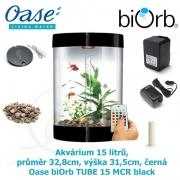 Oase biOrb TUBE 15 MCR black - Akvárium 15 litrů, průměr 32,8cm, výška 31,5cm, černá