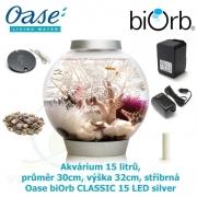 Oase biOrb CLASSIC 15 LED silver - Akvárium 15 litrů, průměr 30cm, výška 32cm, stříbrná, Biorb Baby Moonlight stříbrné 15 l