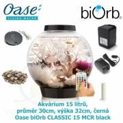 Oase biOrb CLASSIC 15 MCR black - Akvárium 15 litrů, průměr 30cm, výška 32cm, černá, dálkové ovládání s měničem barev