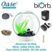 Oase biOrb CLASSIC 30 LED white - Akvárium 30 litrů, průměr 40cm, výška 42cm, bílá