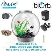 Oase biOrb CLASSIC 60 LED silver - Akvárium 60 litrů, průměr 50cm, výška 52cm, stříbrná