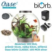 Oase biOrb CLASSIC 105 MCR silver - Akvárium 105 litrů, průměr 61cm, výška 63cm, stříbrná