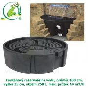 Fontánový rezervoár na vodu, průměr 100 cm, výška 33 cm, objem 250 L, max. průtok 14 m3/h