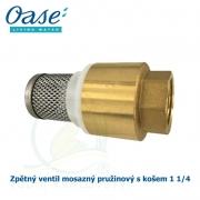 Zpětný ventil mosazný pružinový s košem 1 1/4