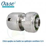 Click spojka na hadici se zpětným ventilem 3/4, mosazná