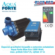 Úsporné gravitační čerpadlo s externím ovladačem Aqua Forte Blue Eco 1500 Watt, max. průtok 52m³/h, výtlak 17 m