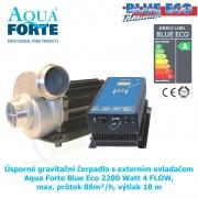 Úsporné gravitační čerpadlo s externím ovladačem Aqua Forte Blue Eco 2200 Watt 4 FLOW, max. průtok 88m³/h, výtlak 18 m