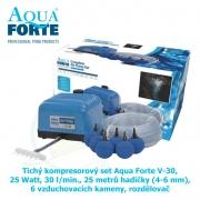 Tichý kompresorový set Aqua Forte V-30, 25 Watt, 30 l/min., 25 metrů hadičky (4-6 mm), 6 vzduchovacích kamenů, rozdělovač