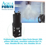 Profesionální aerátor Aqua Forte Novair 200, příkon 180 Watt, množství vzduchu 8m³/h, max. hloubka 80 cm, min. hloubka 20 cm,