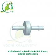 Vzduchovací zpětná klapka PP, 8 mm, odolná proti ozonu