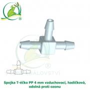 Spojka T-éčko PP 4 mm vzduchovací, hadičková, odolná proti ozonu