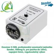 Ozonizer S 500, profesionální ozonizační jednotka Sander, 500mg/h, pro jezírka do 10m3, napojení 6mm, regulovatelný výkon