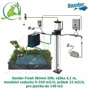 Sander Fresh Skimm 500, výška 2,1 m, množství vzduchu 5-310 m3/h, průtok 22 m3/h, pro jezírka do 140 m3