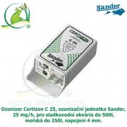 Ozonizer Certizon C 25, ozonizační jednotka Sander, 25 mg/h, pro sladkovodní akvária do 500l, mořská do 250l, napojení 4 mm.