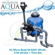 Low Press K1 Micro Bead 50 EAST 3PLUS 5 let záruka + Pure Set, profi mechanicko-biologická nízko-tlaková filtrace pro koi, chovy ryb do 18-35 m3, jezírka, biotopy 20-100 (1000) m3