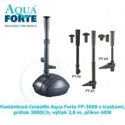 Fontánkové čerpadlo Aqua Forte FP-3000 s tryskami, průtok 3000l/h, výtlak 2,8 m, příkon 60W