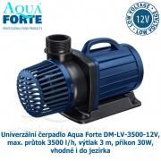 Univerzální čerpadlo Aqua Forte DM-LV-3500-12V, max. průtok 3500 l/h, výtlak 3 m, příkon 30W, vhodné i do jezírka