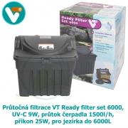 Průtočná filtrace VT Ready filter set 6000, UV-C 9W, průtok čerpadla 1500l/h, příkon 25W, pro jezírka do 6000L
