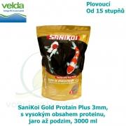 SaniKoi Gold Protain Plus 3mm, s vysokým obsahem proteinu, jaro až podzim, 3000 ml
