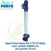 Aqua Forte nerez UV-C T5 75 Watt, max. průtok 20000 l/h, pro jezírka 70 m3
