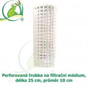 Perforovaná trubka na filtrační médium, délka 25 cm, průměr 10 cm