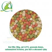 Koi Mix 3Kg, od 12°C, granule 6 mm, celosezónní krmivo, pro koi a ostatní okrasné ryby